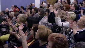 The audience is applauded in the auditorium. Theater and concert Agency. Russia, Saratov, March 27, 2017.  stock video footage
