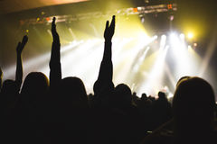 The audience applauded by the stage artist. Royalty Free Stock Image