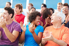 Audience Applauding At Outdoor Concert Performance Royalty Free Stock Image