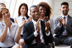 Audience Applauding Speaker At Business Conference Stock Photos
