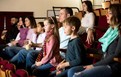 Audience attending movie night for comedy Royalty Free Stock Images