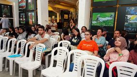 Audience attending to the competition at the 12th International Eskisehir Terra Cotta Symposium. Eskisehir, Turkey - September 08, 2018: People at the 12th stock video
