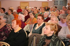 The audience and the audience are retired, elderly world war II veterans and their relatives. Royalty Free Stock Photography