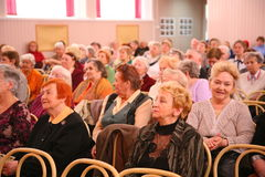 The audience and the audience are retired, elderly world war II veterans and their relatives. Royalty Free Stock Photos