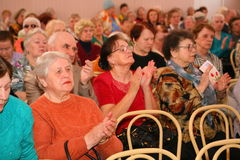The audience and the audience are retired, elderly world war II veterans and their relatives. Royalty Free Stock Photo