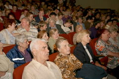 The audience and the audience are retired, elderly world war II veterans and their relatives. Stock Photo