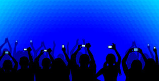 Audience on blue. Excited youngsters attending some show, applauding and taking videos, viewed as silhouettes on a blue cellular background. No gradients used Royalty Free Stock Photos