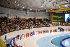 Audience at ceremony of lighting Olympic flame copy Royalty Free Stock Images