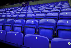 Audience chairs blue. Chairs on stadium, very good for sport events or brief of arena event or audience Stock Photos