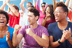 Audience Cheering At Outdoor Concert Performance stock photography