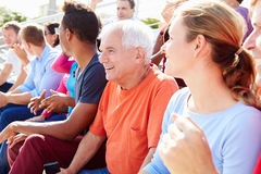 Audience Cheering At Outdoor Concert Performance Stock Photos