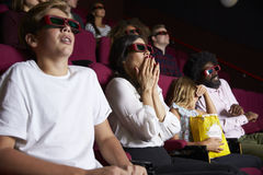 Audience In Cinema Wearing 3D Glasses Watching Horror Film Stock Image