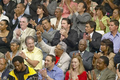 Audience clapping for Senator John Kerry at major policy address on the economy, CSU- Dominguez Hills, Los  Angeles, CA Stock Photos