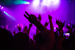 Audience at concert at nightclub Royalty Free Stock Image