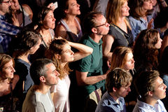 Audience in a concert at Razzmatazz discotheque Royalty Free Stock Photography