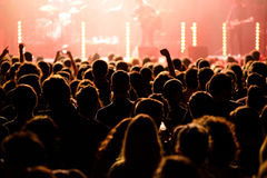Audience in a concert at Razzmatazz discotheque. BARCELONA - MAY 16: Audience in a concert at Razzmatazz discotheque on May 16, 2014 in Barcelona, Spain Stock Images