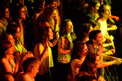 Audience in a concert at Razzmatazz discotheque Stock Photo