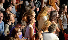 Audience in a concert at Razzmatazz discotheque. BARCELONA - MAY 16: Audience in a concert at Razzmatazz discotheque on May 16, 2014 in Barcelona, Spain Royalty Free Stock Image