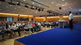 Audience at conference Day of Internet Advertising stock video footage
