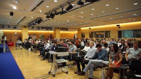 Audience at conference Day of Internet Advertising stock video