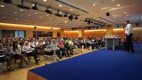 Audience at conference Day of Internet Advertising stock footage