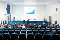 Audience at the conference hall. Royalty Free Stock Image