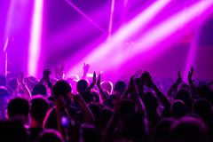 Crowd partying at concert royalty free stock images