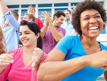 Audience Dancing At Outdoor Concert Performance Stock Images