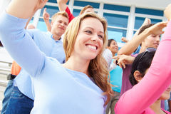 Audience Dancing At Outdoor Concert Performance Stock Photos