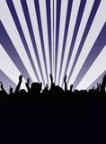Audience Dancing. Vector illustration of audience people dancing silhouette on purple and white bars background Stock Image