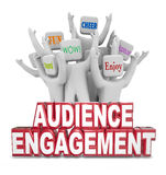 Audience Engagement Cheering People Customers Words. Audience Engagement words in front of people cheering to illustrate participation and response from your Stock Image