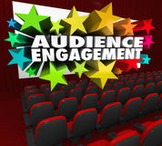 Audience Engagement Movie Theatre Entertain Crowd Participation. Audience Engagement words on a movie theatre screen to illustrate communicating with your stock illustration
