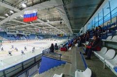 Audience expects beginning of hockey game. Tyumen, Russia - January 27, 2007: Hockey tournament Sweet tooth-99. Game between Gazovik Tyumen and Salavat Yulaev stock photography
