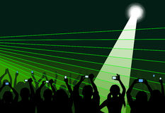 Audience on green. Excited audience attending a show, applauding and taking videos, viewed as silhouettes on a green background with laser. No gradients used Stock Photo