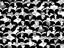 Audience group people sitting black and white seamless pattern Royalty Free Stock Image