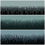 Audience with hands silhouette raised music festival and concert streaming down from above stage vector. Royalty Free Stock Image