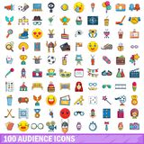 100 audience icons set, cartoon style. 100 audience icons set. Cartoon illustration of 100 audience vector icons isolated on white background royalty free illustration
