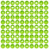 100 audience icons set green circle Stock Photography