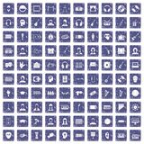 100 audience icons set grunge sapphire. 100 audience icons set in grunge style sapphire color isolated on white background vector illustration Stock Images