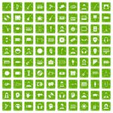 100 audience icons set grunge green. 100 audience icons set in grunge style green color isolated on white background vector illustration Stock Photo