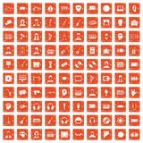 100 audience icons set grunge orange. 100 audience icons set in grunge style orange color isolated on white background vector illustration Royalty Free Illustration