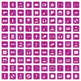 100 audience icons set grunge pink. 100 audience icons set in grunge style pink color isolated on white background vector illustration Vector Illustration