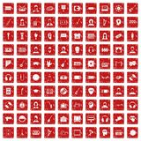 100 audience icons set grunge red. 100 audience icons set in grunge style red color isolated on white background vector illustration Royalty Free Stock Photos