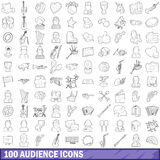 100 audience icons set, outline style. 100 audience icons set in outline style for any design vector illustration Stock Image