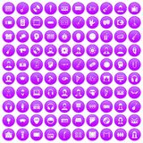 100 audience icons set purple. 100 audience icons set in purple circle isolated on white vector illustration royalty free illustration