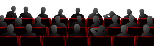 Audience illustration. Audience sat in theatre or cinema style chairs vector illustration