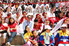 Audience. ISTANBUL - APRIL 23: International visitors wait their turn for dance during National Sovereignty and Children Day festival at Maltepe University on Royalty Free Stock Photography