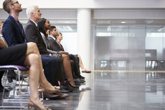 Audience Listening To  Speaker At Conference Presentation Stock Photos