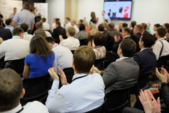 Audience listens to the acting. The audience listens to the acting in a conference hall royalty free stock images