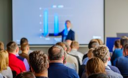 Audience listens to the lecturer. At the conference hall Royalty Free Stock Photography